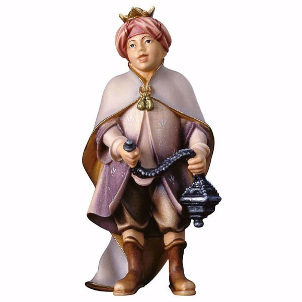 Picture of Choirboy with Incense cm 15 (5,9 inch) hand painted Ulrich Nativity Scene Val Gardena wooden Statue baroque style