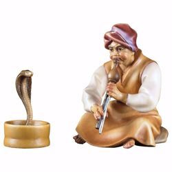 Imagen de Encantador de Serpientes 2 Piezas cm 10 (3,9 inch) Belén Cometa pintado a mano Estatuas artesanales de madera Val Gardena estilo Árabe tradicional