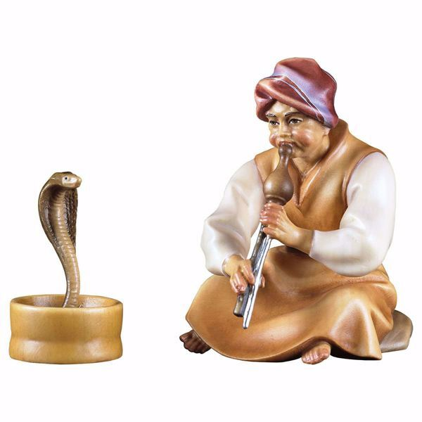 Picture of Snake Charmer 2 Pieces cm 10 (3,9 inch) hand painted Comet Nativity Scene Val Gardena wooden Statues traditional Arabic style