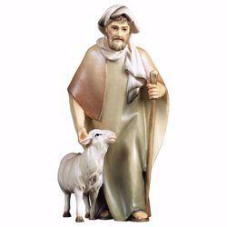 Imagen de Pastor con bastón y oveja cm 10 (3,9 inch) Belén Cometa pintado a mano Estatua artesanal de madera Val Gardena estilo Árabe tradicional