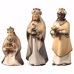 Picture of Three Wise Kings Group 3 Pieces cm 12 (4,7 inch) hand painted Comet Nativity Scene Val Gardena wooden Statues traditional Arabic style