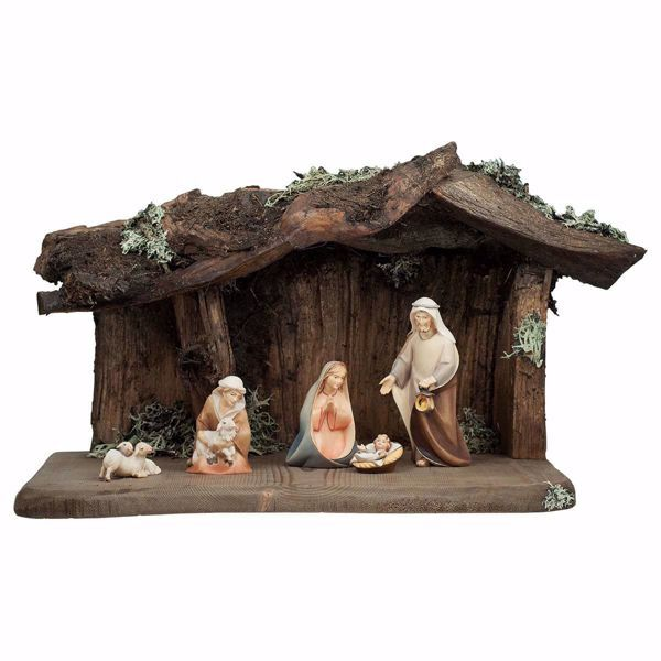 Picture of Comet Nativity Set 8 Pieces cm 12 (4,7 inch) hand painted Val Gardena wooden Statues