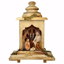 Picture of Comet Nativity Set 5 Pieces with Light cm 12 (4,7 inch) hand painted Val Gardena wooden Statues