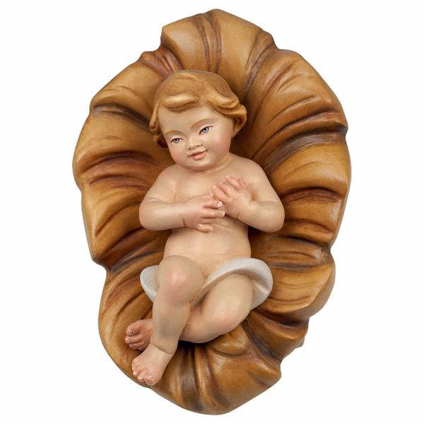 Immagine di Gesù Bambino e Culla cm 12 (4,7 inch) Presepe Redentore dipinto a mano Statua artigianale in legno Val Gardena stile tradizionale
