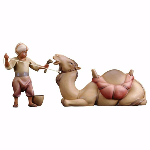 Imagen de Grupo Camello yacente 2 Piezas cm 12 (4,7 inch) Belén Redentor pintado a mano Estatuas artesanales de madera Val Gardena estilo tradicional