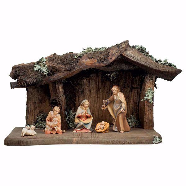 Immagine di Presepe Redentore Set 8 Pezzi cm 12 (4,7 inch) dipinto a mano Statue artigianali in legno Val Gardena