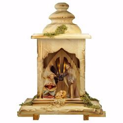 Picture of Saviour Nativity Set 5 Pieces with Light cm 12 (4,7 inch) hand painted Val Gardena wooden Statues