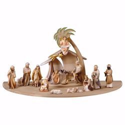 Picture of Comet Nativity Set 22 Pieces cm 16 (6,3 inch) hand painted Val Gardena wooden Statues
