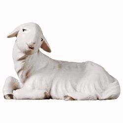 Picture of Lying Lamb cm 16 (6,3 inch) hand painted Saviour Nativity Scene Val Gardena wooden Statue traditional style