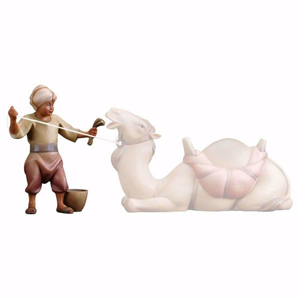 Imagen de Camellero con pienso cm 16 (6,3 inch) Belén Redentor pintado a mano Estatua artesanal de madera Val Gardena estilo tradicional