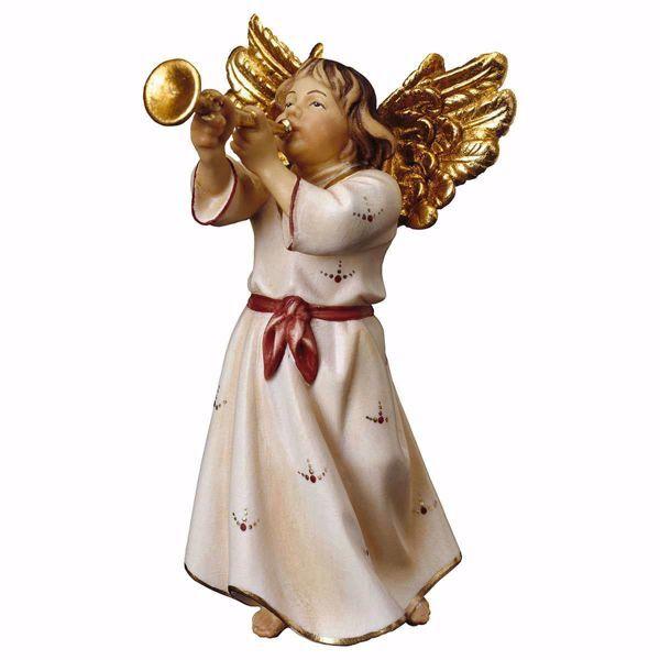 Imagen de Ángel con trompeta cm 50 (19,7 inch) Belén Ulrich pintado a mano Estatua artesanal de madera Val Gardena estilo barroco