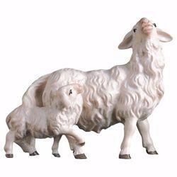 Immagine di Pecora con agnello dietro cm 50 (19,7 inch) Presepe Ulrich dipinto a mano Statua artigianale in legno Val Gardena stile barocco