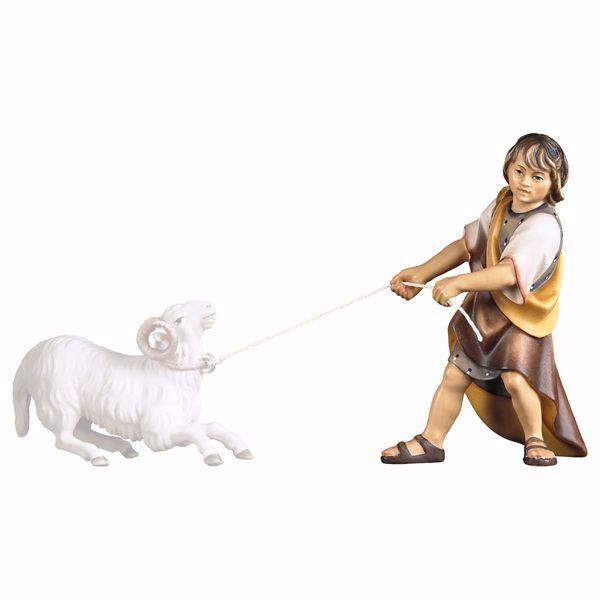 Immagine di Bambino che tira cm 23 (9,1 inch) Presepe Ulrich dipinto a mano Statua artigianale in legno Val Gardena stile barocco