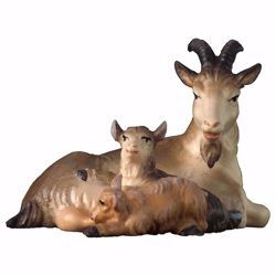 Picture of Goat lying down with two little Goats cm 23 (9,1 inch) hand painted Ulrich Nativity Scene Val Gardena wooden Statue baroque style
