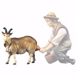 Picture of Milk Goat cm 23 (9,1 inch) hand painted Ulrich Nativity Scene Val Gardena wooden Statue baroque style