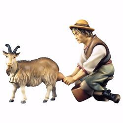 Picture of Shepherd milking a Goat 2 Pieces cm 23 (9,1 inch) hand painted Ulrich Nativity Scene Val Gardena wooden Statues baroque style