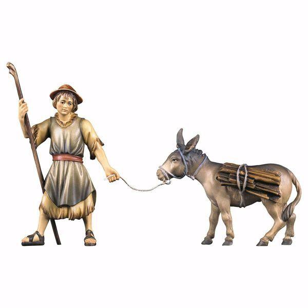 Immagine di Pastore che tira con asino e legna 2 Pezzi cm 23 (9,1 inch) Presepe Ulrich dipinto a mano Statue artigianali in legno Val Gardena stile barocco