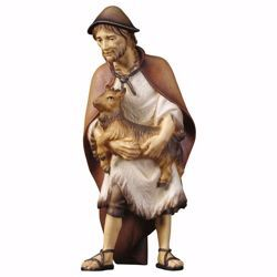Picture of Herder with goat cm 23 (9,1 inch) hand painted Ulrich Nativity Scene Val Gardena wooden Statue baroque style