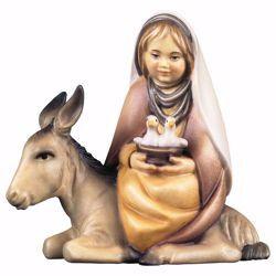 Immagine di Bambina con colombe su asino cm 25 (9,8 inch) Presepe Cometa dipinto a mano Statua artigianale in legno Val Gardena stile Arabo tradizionale