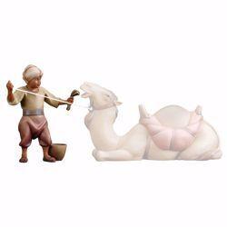 Imagen de Camellero con pienso cm 25 (9,8 inch) Belén Cometa pintado a mano Estatua artesanal de madera Val Gardena estilo Árabe tradicional