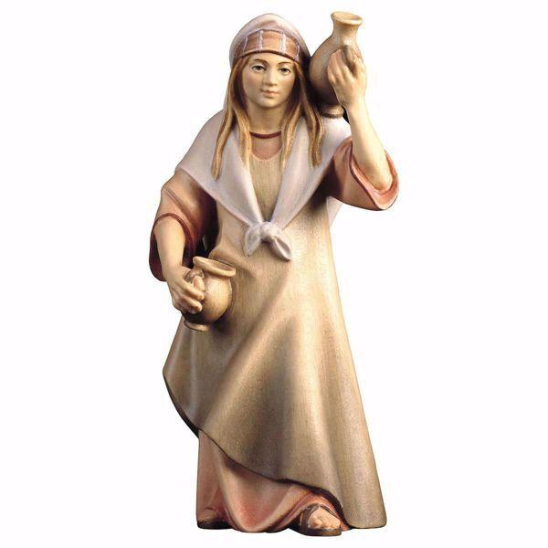 Immagine di Contadina con brocca cm 25 (9,8 inch) Presepe Cometa dipinto a mano Statua artigianale in legno Val Gardena stile Arabo tradizionale