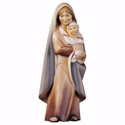 Immagine di Contadina con neonato cm 25 (9,8 inch) Presepe Cometa dipinto a mano Statua artigianale in legno Val Gardena stile Arabo tradizionale