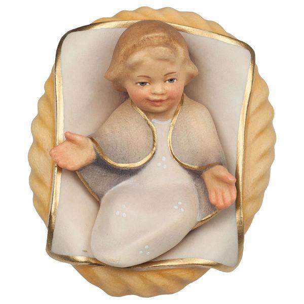 Immagine di Gesù Bambino in Culla 2 Pezzi cm 25 (9,8 inch) Presepe Cometa dipinto a mano Statue artigianali in legno Val Gardena stile Arabo tradizionale