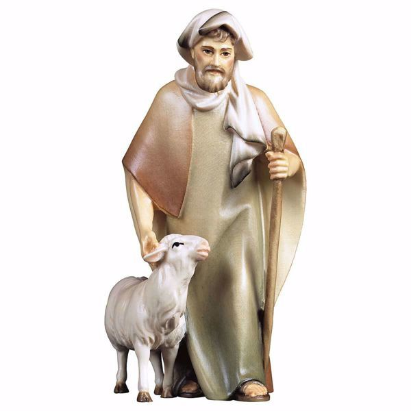 Imagen de Pastor con bastón y oveja cm 25 (9,8 inch) Belén Cometa pintado a mano Estatua artesanal de madera Val Gardena estilo Árabe tradicional