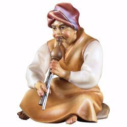 Picture of Sitting Shepherd with flute cm 25 (9,8 inch) hand painted Comet Nativity Scene Val Gardena wooden Statue traditional Arabic style