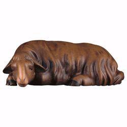 Immagine di Pecora che dorme scura cm 25 (9,8 inch) Presepe Cometa dipinto a mano Statua artigianale in legno Val Gardena stile Arabo tradizionale