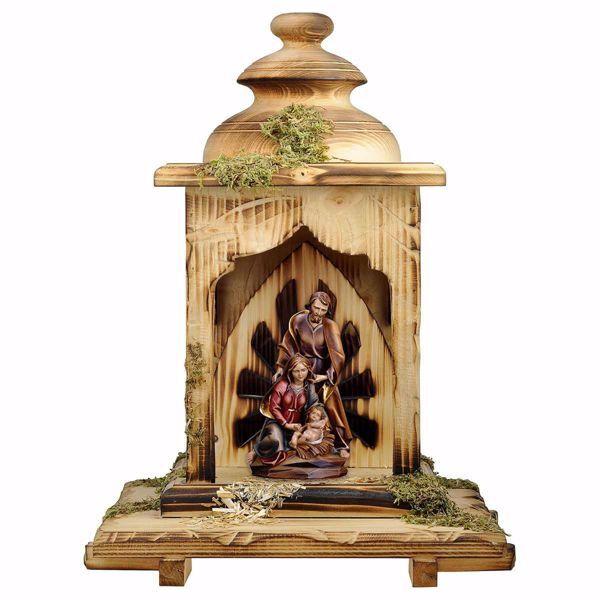 Imagen de Pesebre Barroco con Cabaña Linterna cm 12 (4,7 inch) Belén en bloque Sagrada Familia en estilo clásico pintado al óleo en madera Val Gardena
