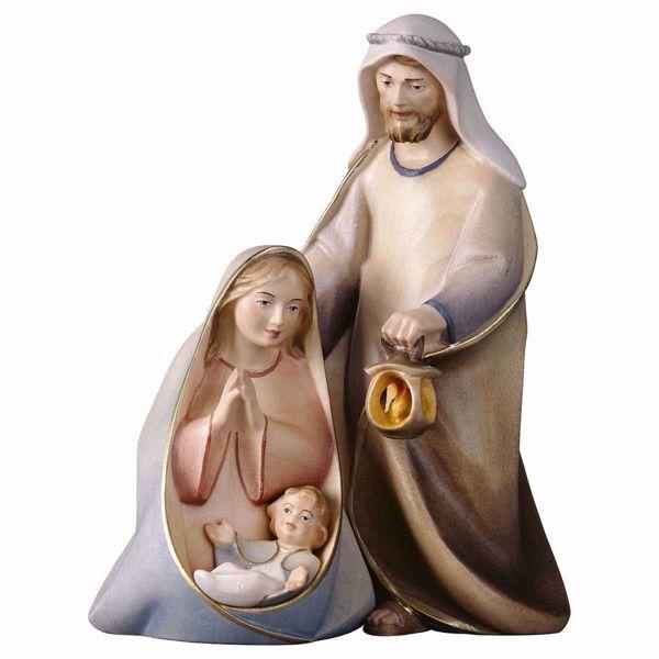 Imagen de Pesebre Cometa Set 3 Piezas cm 25 (9,8 inch) Belén en bloque Sagrada Familia en estilo moderno pintado al óleo en madera Val Gardena