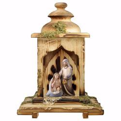 Picture of Comet Nativity Scene Set 3 Pieces with Lantern Stable cm 12 (4,7 inch) wooden block Crib modern style Holy Family painted with oil colours Val Gardena