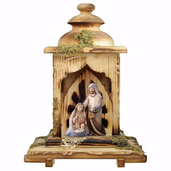 Imagen de Pesebre Cometa Set 3 Piezas con Cabaña Linterna cm 12 (4,7 inch) Belén en bloque Sagrada Familia en estilo moderno pintado al óleo en madera Val Gardena