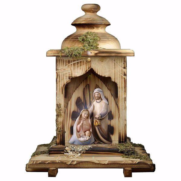 Imagen de Pesebre Cometa Set 3 Piezas con Cabaña Linterna y luz cm 12 (4,7 inch) Belén en bloque moderno Sagrada Familia pintado al óleo en madera Val Gardena