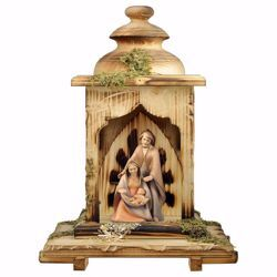 Picture of Hope Nativity Scene Set 2 Pieces with Lantern Stable cm 12 (4,7 inch) wooden block Crib modern style Holy Family painted with oil colours Val Gardena