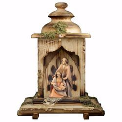 Picture of Hope Nativity Scene Set 2 Pieces with Lantern Stable and light cm 12 (4,7 inch) wooden block Crib modern style Holy Family oil colours Val Gardena
