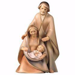 Immagine di Natività La Speranza Set 3 Pezzi cm 25 (9,8 inch) Presepe in blocco Sacra Famiglia in stile moderno dipinto ad olio in legno Val Gardena
