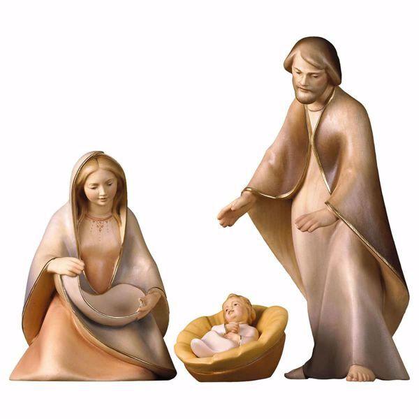 Immagine di Natività La Speranza Set 4 Pezzi cm 25 (9,8 inch) Presepe in blocco Sacra Famiglia in stile moderno dipinto ad olio in legno Val Gardena