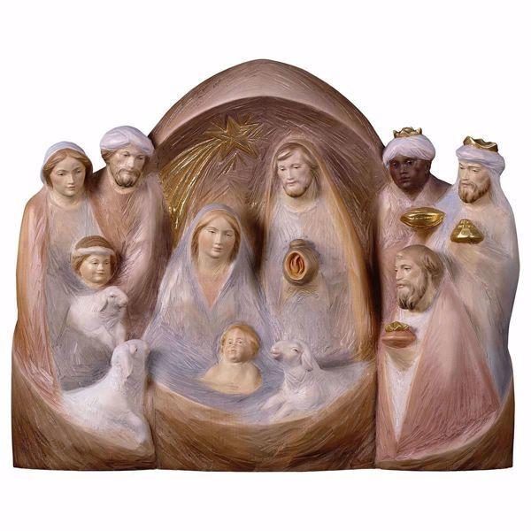 Imagen de Pesebre Occidente cm 13x16 (5,1x6,3 inch) Belén en bloque Sagrada Familia en estilo moderno pintado al óleo en madera Val Gardena