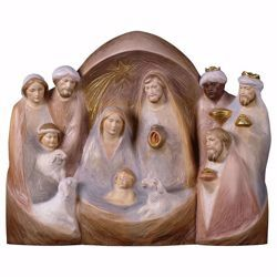 Picture of Occident Nativity Scene cm 17x20 (6,7x7,9 inch) wood block Crib modern style Holy Family painted with oil colours Val Gardena