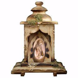 Imagen de Pesebre Oriente con Cabaña Linterna y luz cm 12 (4,7 inch) Belén en bloque moderno Sagrada Familia pintado al óleo en madera Val Gardena