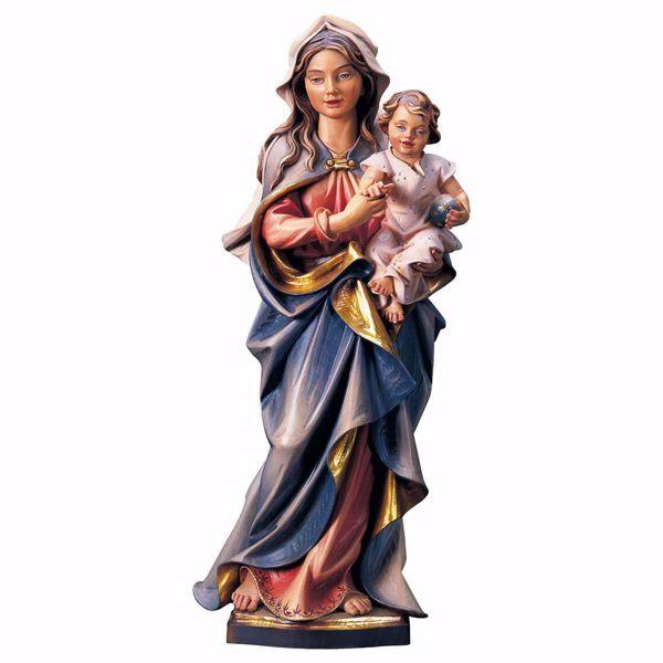 Immagine di Madonna Accompagnatrice con Bambino cm 15 (5,9 inch) Statua dipinta ad olio in legno Val Gardena