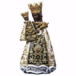 Picture of Our Lady Black Madonna of Altötting cm 18 (7,1 inch) wooden Statue oil colours Val Gardena