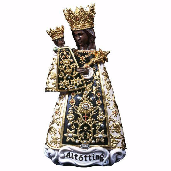 Immagine di Madonna Nera di Altötting cm 18 (7,1 inch) Statua dipinta ad olio in legno Val Gardena