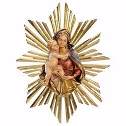 Picture of Bust of Our Lady Madonna with Rays Aureole cm 21 (8,3 inch) Wall wooden Statue oil colours Val Gardena