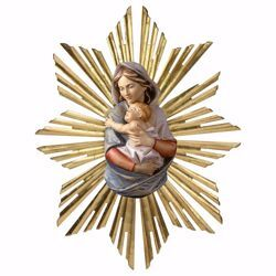 Picture of Bust of Our Lady Madonna with Rays Aureole cm 23 (9,1 inch) Wall wooden Statue oil colours Val Gardena
