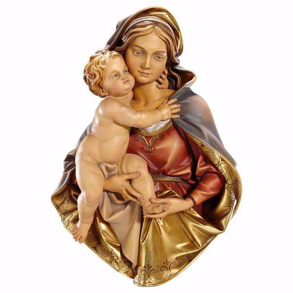 Imagen de Busto de la Virgen María cm 33 (13,0 inch) Estatua de pared pintada al óleo madera Val Gardena