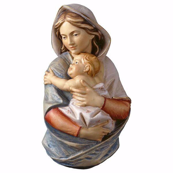 Imagen de Busto de la Virgen María cm 9 (3,5 inch) Estatua de pared pintada al óleo madera Val Gardena