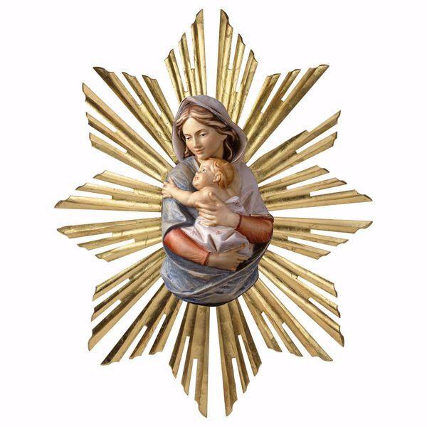 Imagen de Busto de la Virgen María con Aureola de Rayos cm 9 (3,5 inch) Estatua de pared pintada al óleo madera Val Gardena